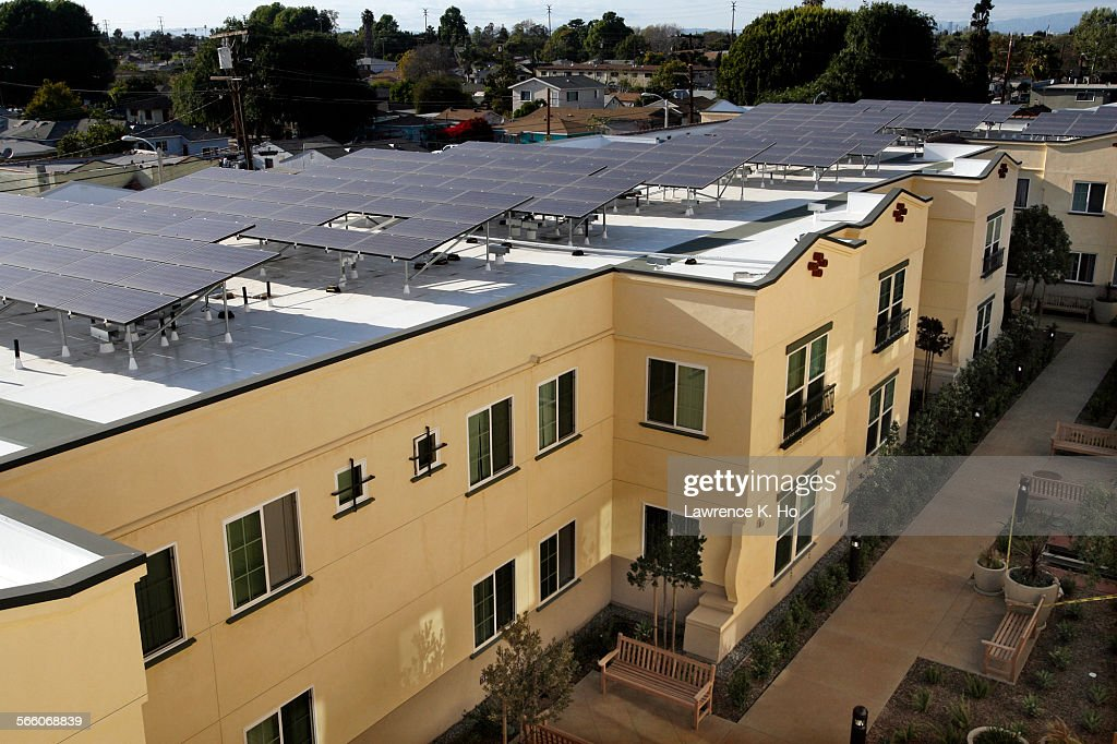 The solar panels on the roof of the complex in Casa Dominguez. Casa Dominguez, an environmentally c : News Photo