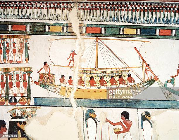 The solar ship detail of the pilgrimage to Abydos fresco north wall long dining room Theban Tomb TT69 Sheikh Abd elQurna Thebes Egyptian civilisation...