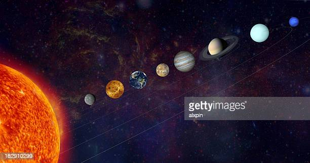 the solar system in a line - solar system stock pictures, royalty-free photos & images