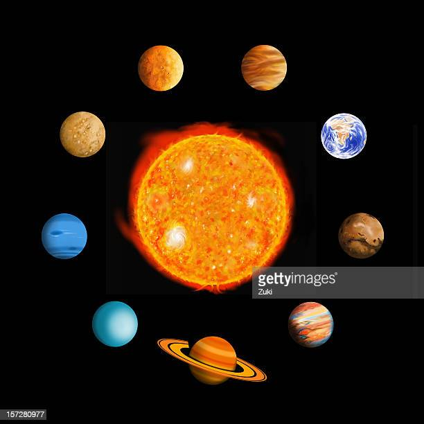 the solar system (oval) - mercury planet stock photos and pictures
