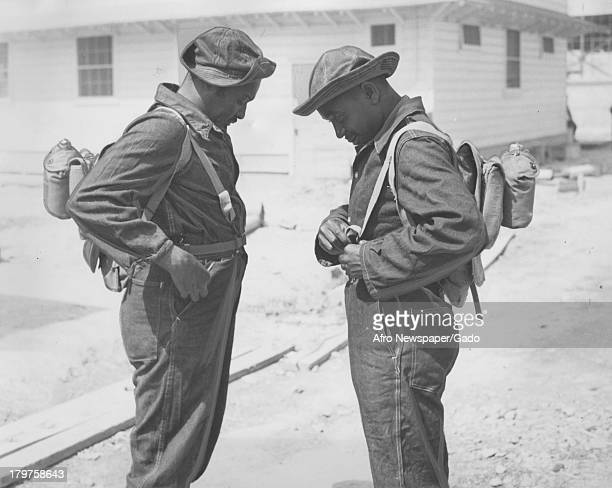 The soldier checks equipment at Aberdeen Proving Ground Aberdeen Maryland May 17 1941