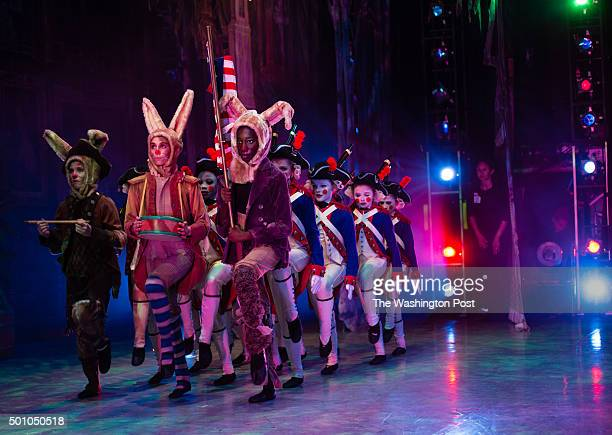 The soldiers are led onto stage by three Valley Forge bunnies during act 1 The preview of The Washington Ballet's Nutcracker was held at The Warner...