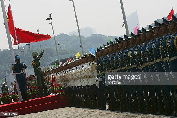 The soldiers of People's Liberation Army Forces Hong Kong take part in a parade during the May Day holiday open day at the Ngong Shuen Chau Barracks...