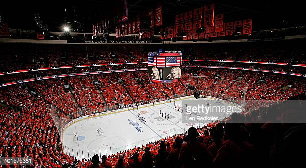 The soldout stadium is seen as crowd stands up during the singing of God Bless America by Lauren Hart prior to the start of Game Three of the 2010...