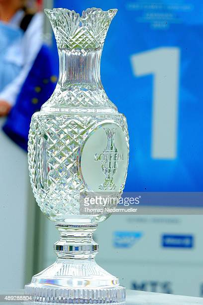 The Solheim Cup trophy is displayed at the first tee during the Sundays single matches in the 2015 Solheim Cup at St LeonRot Golf Club on September...