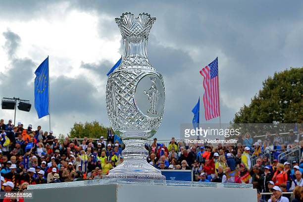 The Solheim Cup trophy is displayed at the first tee during the Sundays single matches in the 2015 Solheim Cup at St Leon-Rot Golf Club on September...