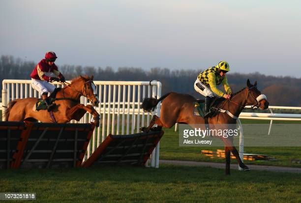 The Some Dance Kid ridden by Brian Hughes clears the last fence on their way to winning The Cliftons Of Wrexham Novices' Hurdle Race at Bangor...