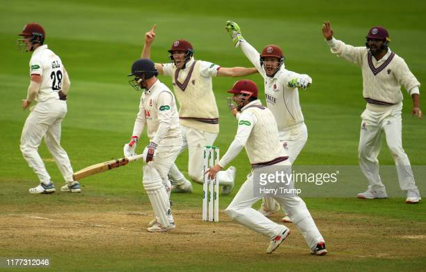 The Somerset side celebrate the wicket of Adam Wheater of Essex during Day Four of the Specsavers County Championship Division One match between...