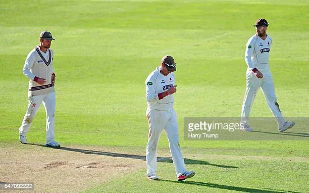 The Somerset side cut dejected figures after defeat to Middlesex during Day Four of the Specsavers County Championship Division One match between...