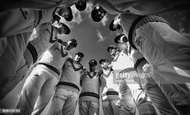 The Somerset side hold their pre match huddle during Day Two of the Specsavers County Championship Division One match between Somerset and Lancashire...