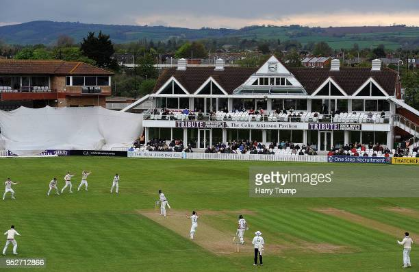 The Somerset side react to a chance with Harry Brook of Yorkshire batting during day three of the Specsavers County Championship Division One match...