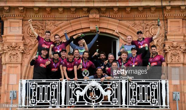 The Somerset team pose with the trophy on the Lord's balcony during the Royal London One Day Cup Final match between Somerset and Hampshire at Lord's...