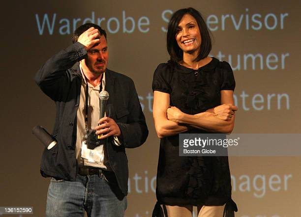 The Somerville Theatre in Davis Square hosted film Turn the River with director Chris Eigeman left and Famke Janssen after the preview