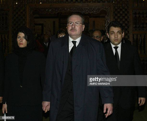 The son and daughter of Egypt's late King Faruq Ahmed Fuad and Yasmine arrive with unidentified relatives to the funeral of their sister Fawzia at...
