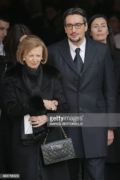 The son of Michele Ferrero Giovanni Ferrero and his mother Maria Franca Ferrero are pictured during the funeral of Michele Ferrero on February 18...
