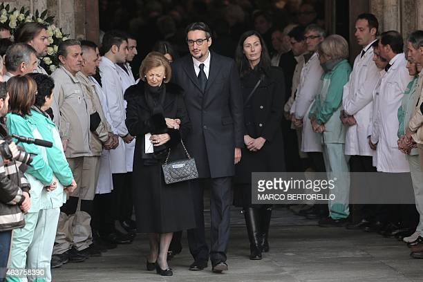The son of Michele Ferrero Giovanni Ferrero his wife Paola and his mother Maria Franca Ferrero leave the church at the end of the mass fot the...