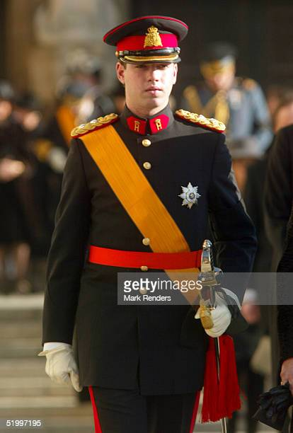 The son of Prince Guillaume and Princess Sibilla from Luxembourg leaves the Cathedral after the funeral of the Grand Duchess Josephine Charlotte...