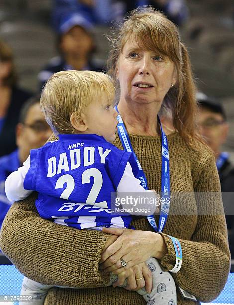 The son of Todd Goldstein is seen during the round one AFL match between the North Melbourne Kangaroos and the Adelaide Crows at Etihad Stadium on...