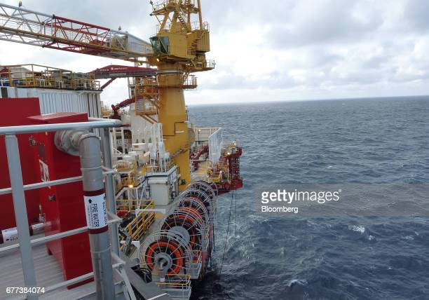 The Songa Offshore Songa Enabler rig operated by Statoil ASA stands in the Snohvit gas field in the Barents Sea off the coast of northern Norway on...