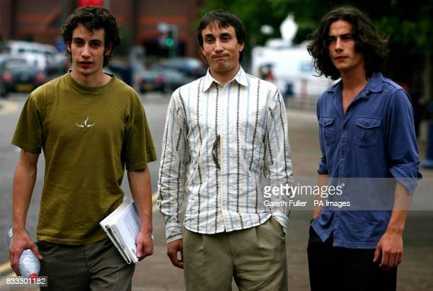 The sons of comedy actor and writer Chris Langham leave Maidstone Crown Court in Kent during their father's trial