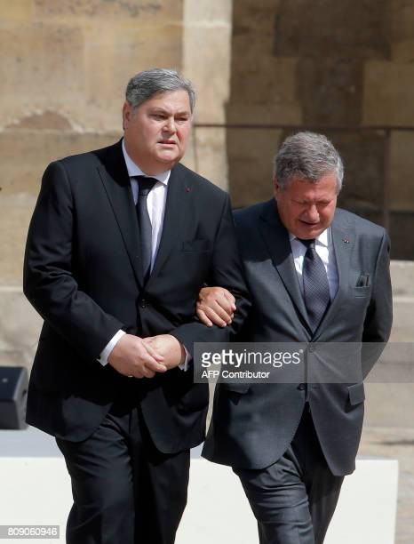 The sons of late French politician and Holocaust survivor Simone Veil Simone Veil PierreFrancois and Jean Veil arrive to attend a tribute ceremony in...