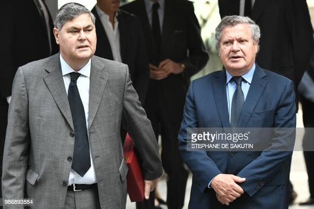 The sons of late French politician and Holocaust survivor Simone Veil PierreFrancois and Jean Veil arrive at the French Holocaust memorial where the...