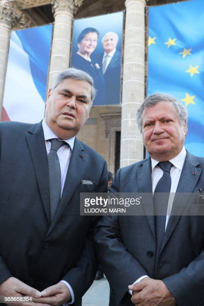 The sons of late French politician and Holocaust survivor Simone Veil PierreFrancois and Jean Veil arrive to attend the burial ceremony for former...