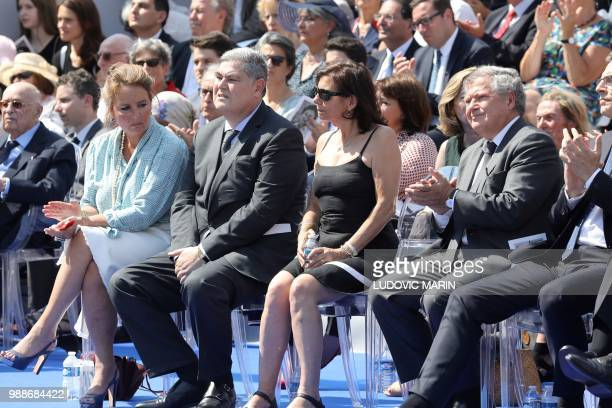 The sons of late French politician and Holocaust survivor Simone Veil PierreFrancois and his wife Barbara Rosnay and Jean Veil and his wife Dorothee...