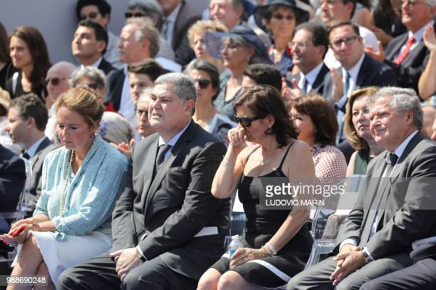 TOPSHOT The sons of late French politician and Holocaust survivor Simone Veil PierreFrancois and his wife Barbara Rosnay and Jean Veil and his wife...