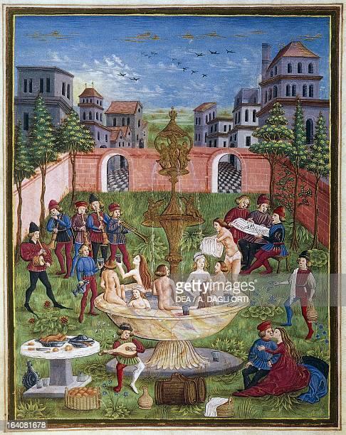 The sons of Venus miniature attributed to Cristoforo de Predis from the astrological book De Sphaera lat manuscript 209 folio 11 recto parchment ca...