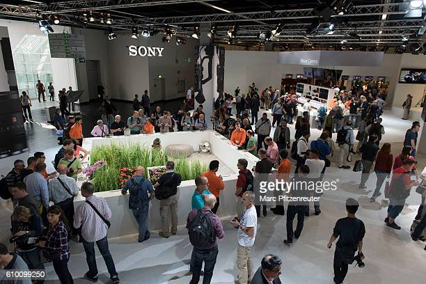 The Sony booth at the 2016 Photokina trade fair on September 24 2016 in Cologne Germany Photokina is the world's largest trade fair for cameras and...