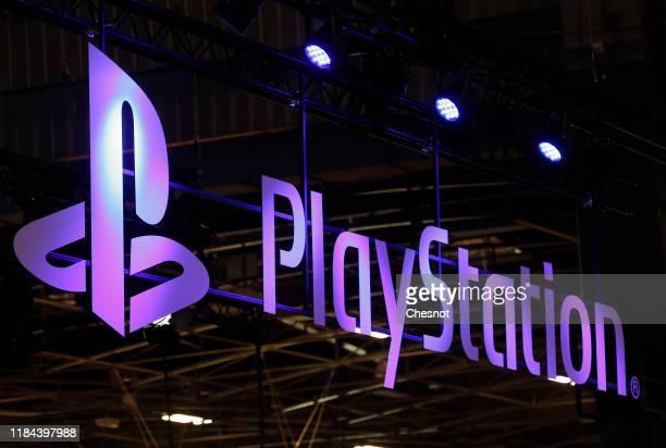 The Sony PlayStation logo is displayed during the 'Paris Games Week' on October 30, 2019 in Paris, France. 'Paris Games Week' is an international...