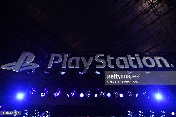 The Sony Playstation logo is seen during the Tokyo Game Show in Makuhari, Chiba Prefecture on September 12, 2019.