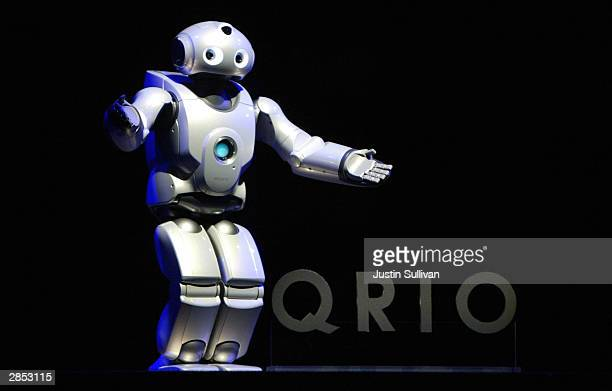 The Sony QRIO robot is seen on display at the International Consumer Electronics Show January 8 2004 in Las Vegas Thousands are expected to attend...