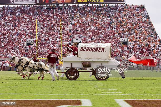 The Sooner Schooner celebrates after a Oklahoma Sooner touchdown against the Miami Hurricanes at Gaylord FamilyOklahoma Memorial Stadium September 8...