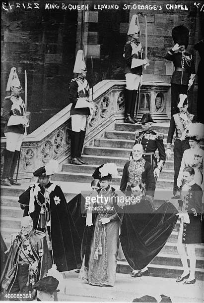 The soontobe King of England George V and his wife Mary of Teck leaving the St George's Chapel at Windsor Castle after Edward VIII the Prince of...