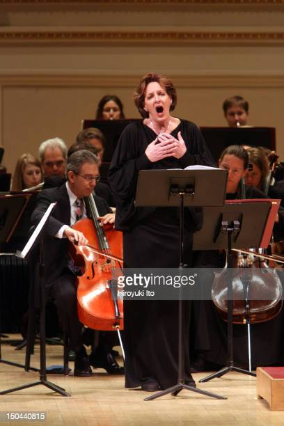 """The soprano Deborah Polaski performing Schoenberg's """"Erwartung"""" with the Met Orchestra, led by Pierre Boulez, at Carnegie Hall on Sunday afternoon,..."""