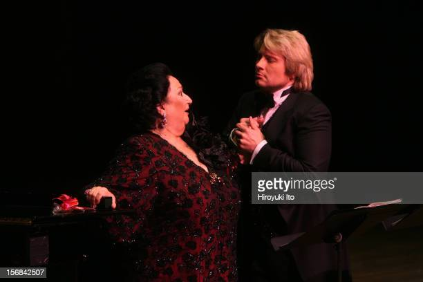 The soprano Montserrat Caballe and the tenor Nikolay Baskov, accompanied by the pianist Manuel Burgueras, performing at Avery Fisher Hall on Friday...
