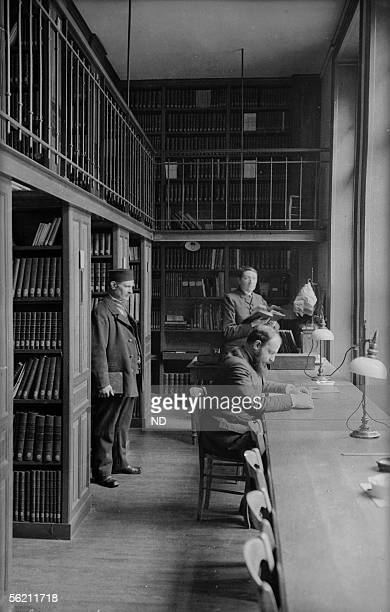 The Sorbonne the library Periodicals room Paris about 1900