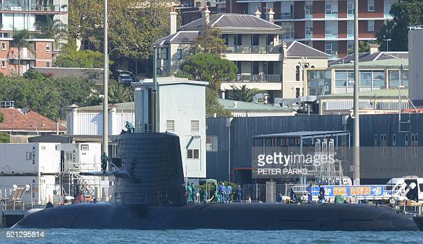 The Soryu class stealth submarine Hakuryu is seen docked in Sydney's Naval base on April 15 2016 The Japanese submarine the first in Sydney Harbour...