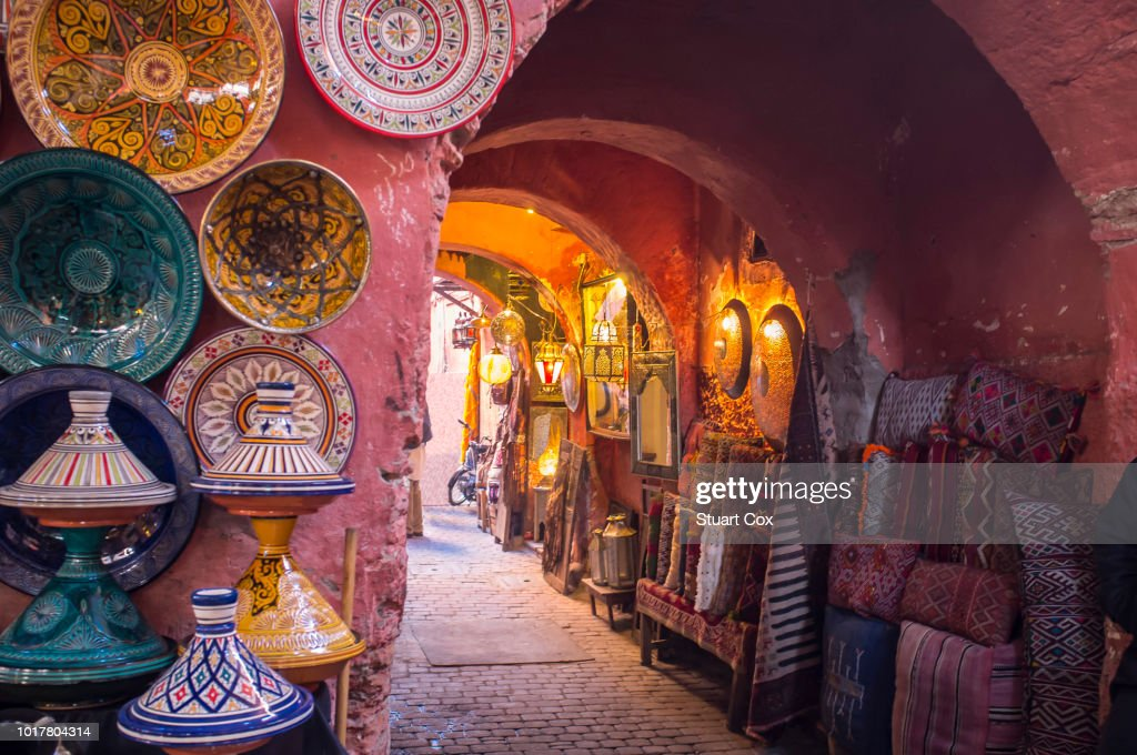 The souks in the medina of Marrakech are a made of a labyrinth of alleyways lined with traders and shops selling traditional arts and crafts. : Stock Photo