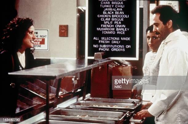 SEINFELD The Soup Nazi Episode 6 Pictured Julia LouisDreyfus as Elaine Benes Larry Thomas as Soup Nazi