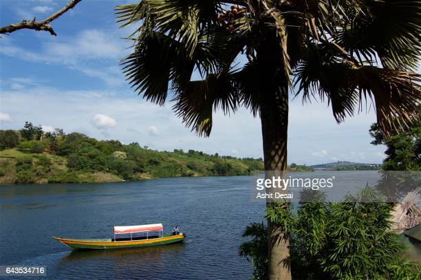 The source of the while nile river flowing from lake Victoria in Jinja, Uganda.