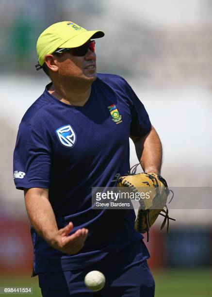 The South Africa Coach Russell Domingo takes part in a South Africa nets session ahead of the Twenty20 International between England and South Africa...