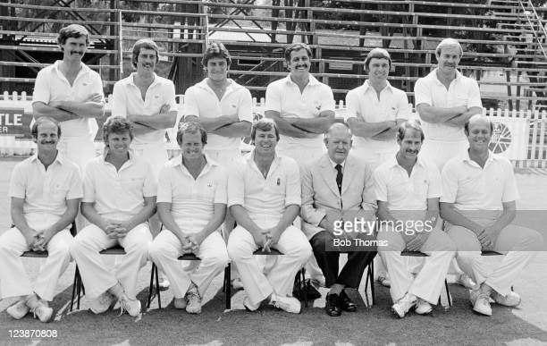 The South Africa cricket team photographed during the 'rebel tour' by England in Johannesburg circa March 1982 Back row left to right Jimmy Cook Ray...