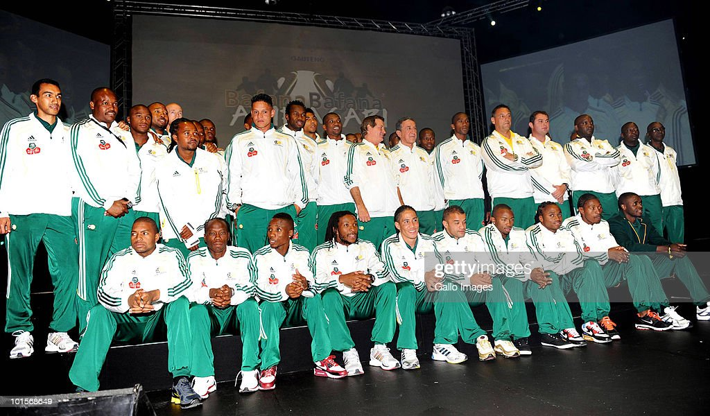 The south Africa football squad and staff pose for a photograph during the Gala Farewell Dinner for the South African national football team at the Sandton Convention Centre on June 2, 2010 in Sandton, South Africa.