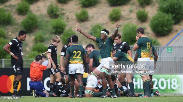 The South Africa players celebrate after they score their final try during the World Rugby via Getty Images Under 20 Championship 3rd Place play off...