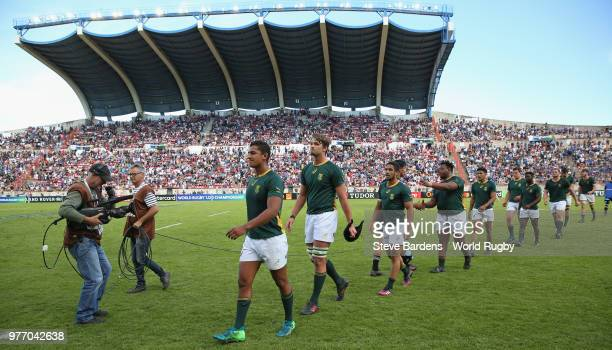 The South Africa players leave the pitch after their victory over New Zealand during the World Rugby via Getty Images Under 20 Championship 3rd Place...