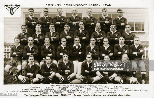 The South Africa rugby team advertising Morley sports kit in Great Britain circa 1931 Left to right back row Nick Bierman Schalk du Toit Skaap...