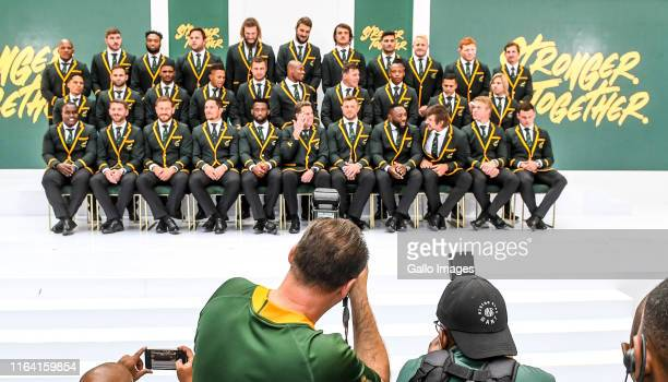 The South Africa Springbok players pose for the cameras during the Rugby World Cup 2019 squad announcement at Ulwazi Centre MultiChoice City on...